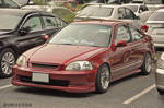 Red stance Civic Coupe