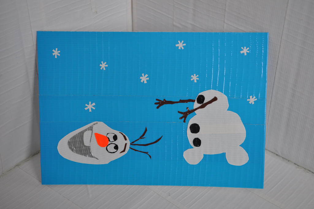 Olaf from frozen mini duct tape painting by for Mini duct tape crafts