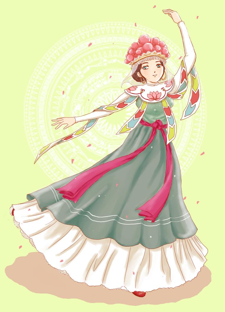 Vietnamese traditional dancer by Tokki284