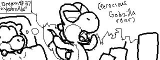 Miiverse Drawing: Yoshi's Dreams [Yoshzilla] by ThatCuteDinosaur