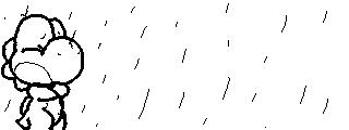 Miiverse Drawing: Stuck in the Rain by ThatCuteDinosaur