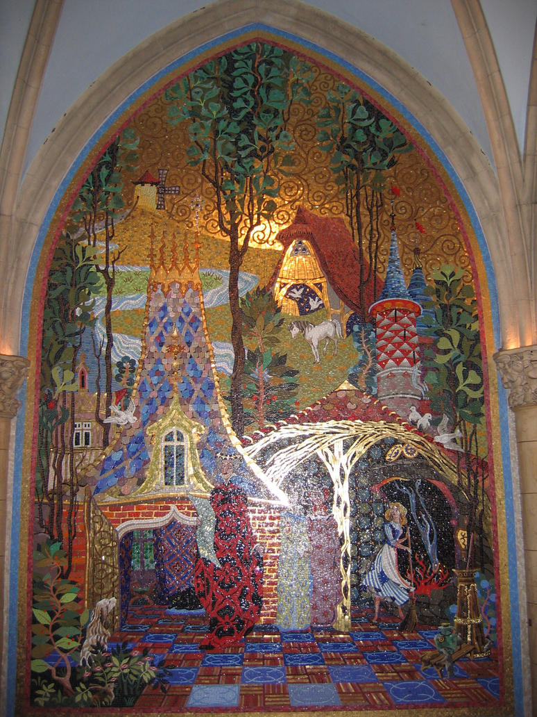 Mk cinderella castle mural 2 by aretestock on deviantart for Disney castle mural