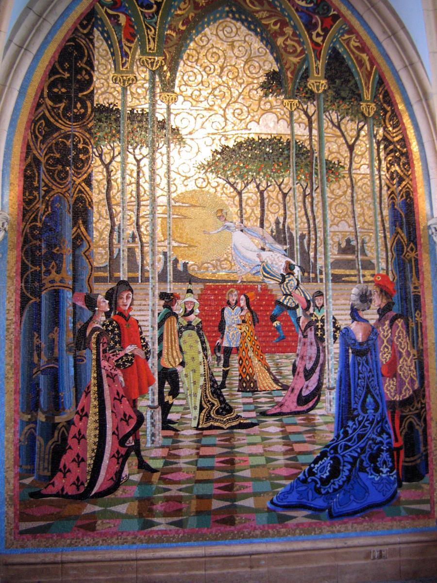 Mk cinderella castle mural 5 by aretestock on deviantart for Disney castle mural wallpaper