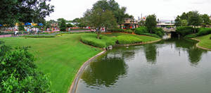 MK Castle Moat Panorama Stock