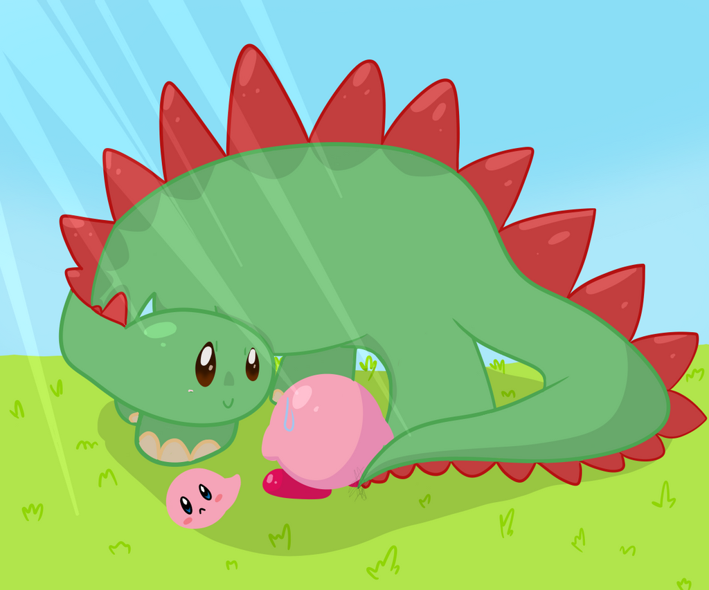 Kirby and Dino -  ART TRADE by GypsyCuddles