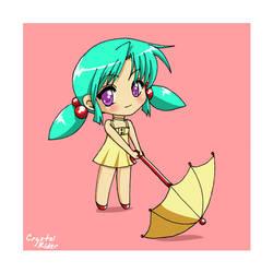 Chibi Rainy Day Anime Girl by shidarezakura