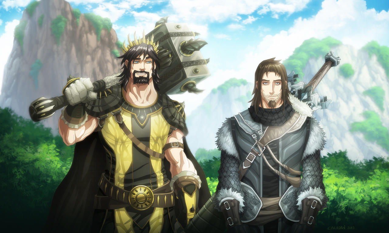 Ned Stark and Robert Baratheon by hueco-mundo