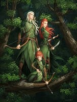 Legolas, Tauriel, and their son