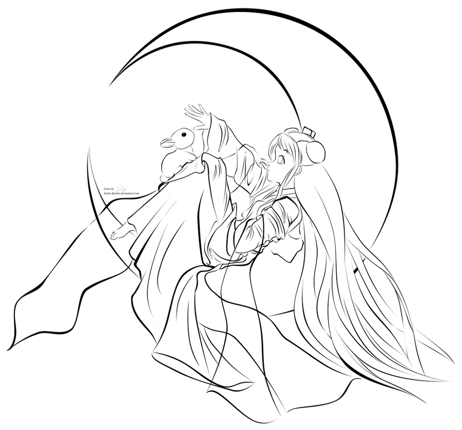 Line Drawing Moon : Crescent moon coloring pages
