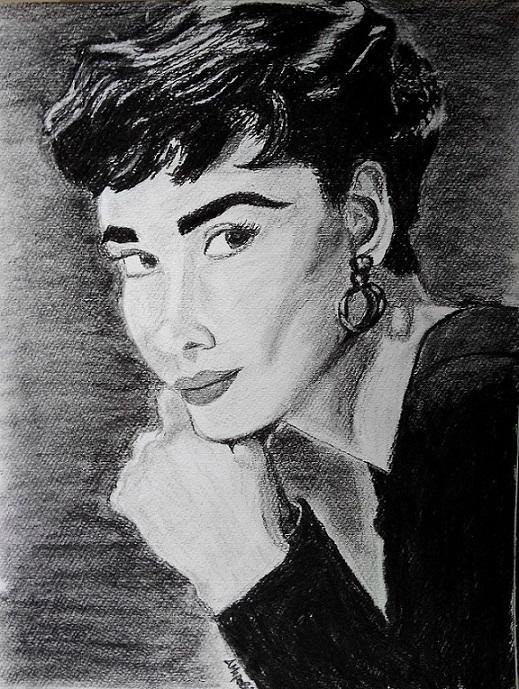 Audrey Hepburn w charcoal