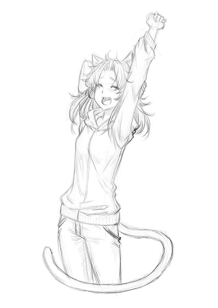 Sketch Redeem: Random catgirl strecthing xD by ARHDian