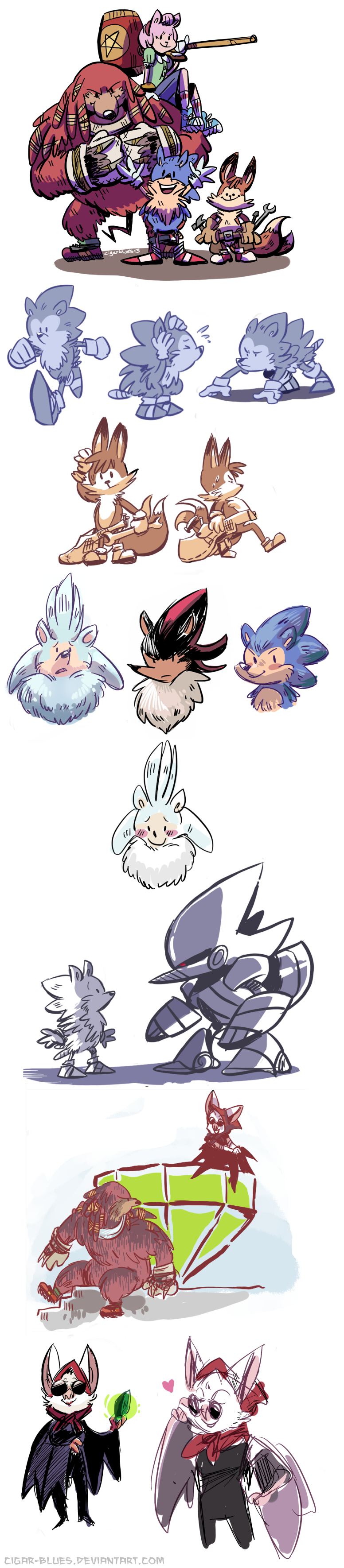 Sonic the Hedgehog doodles by cigar-blues