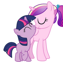 Princess Cadence And Twilight Sparkle(Filly) by AndreaSemiramis