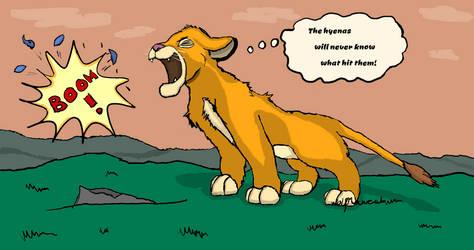 His little roar...