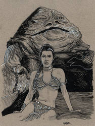 Inktober 2017 Day 16 - The Princess and the Hutt