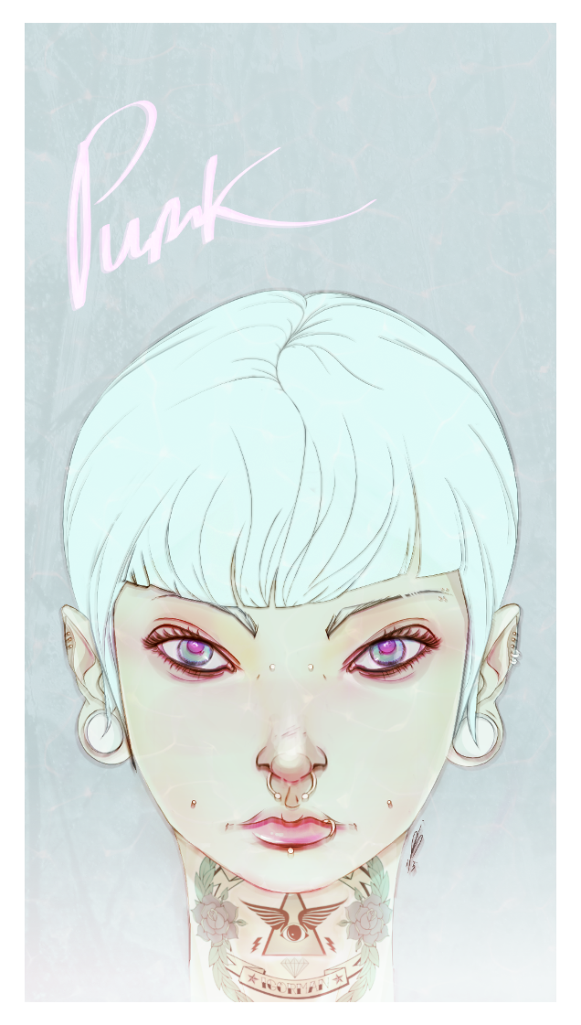 Punk girl - colored version by alch3mist-design