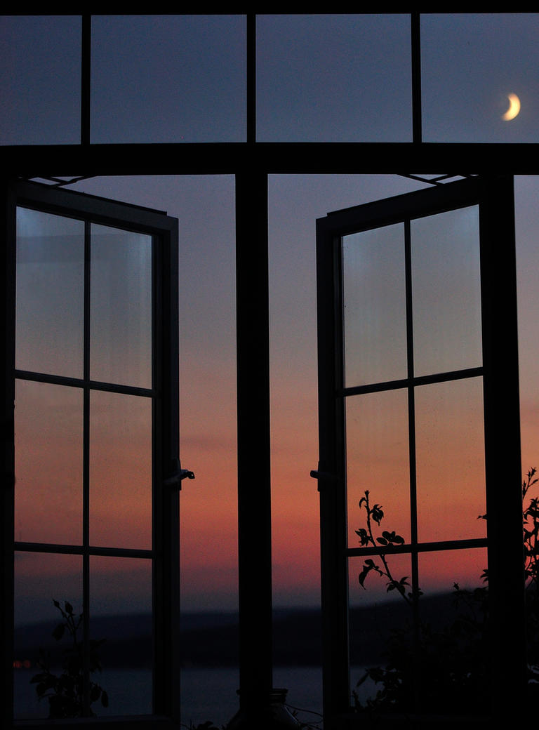 Sun Set with Moon through Window by Dr-Koesters