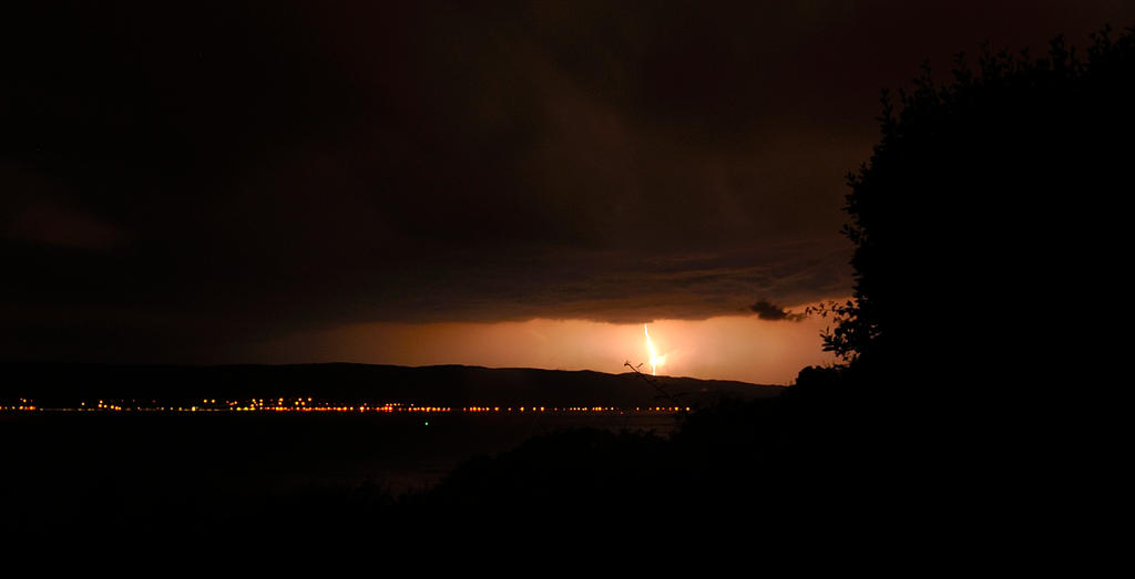 Lightning Strike over Dunoon, Scotland by Dr-Koesters