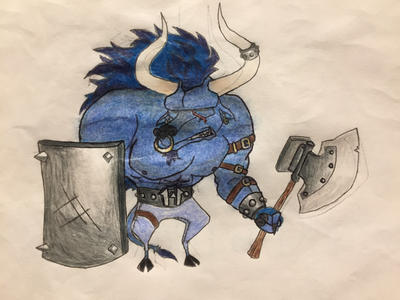 Rayman chronicles enemy: Minotaur  by nathandlneumann