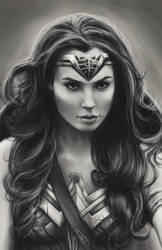 Black and White Wonder Woman (Gal Gadot) by WaywardMartian