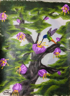 Acrylic Humming Bird Scene