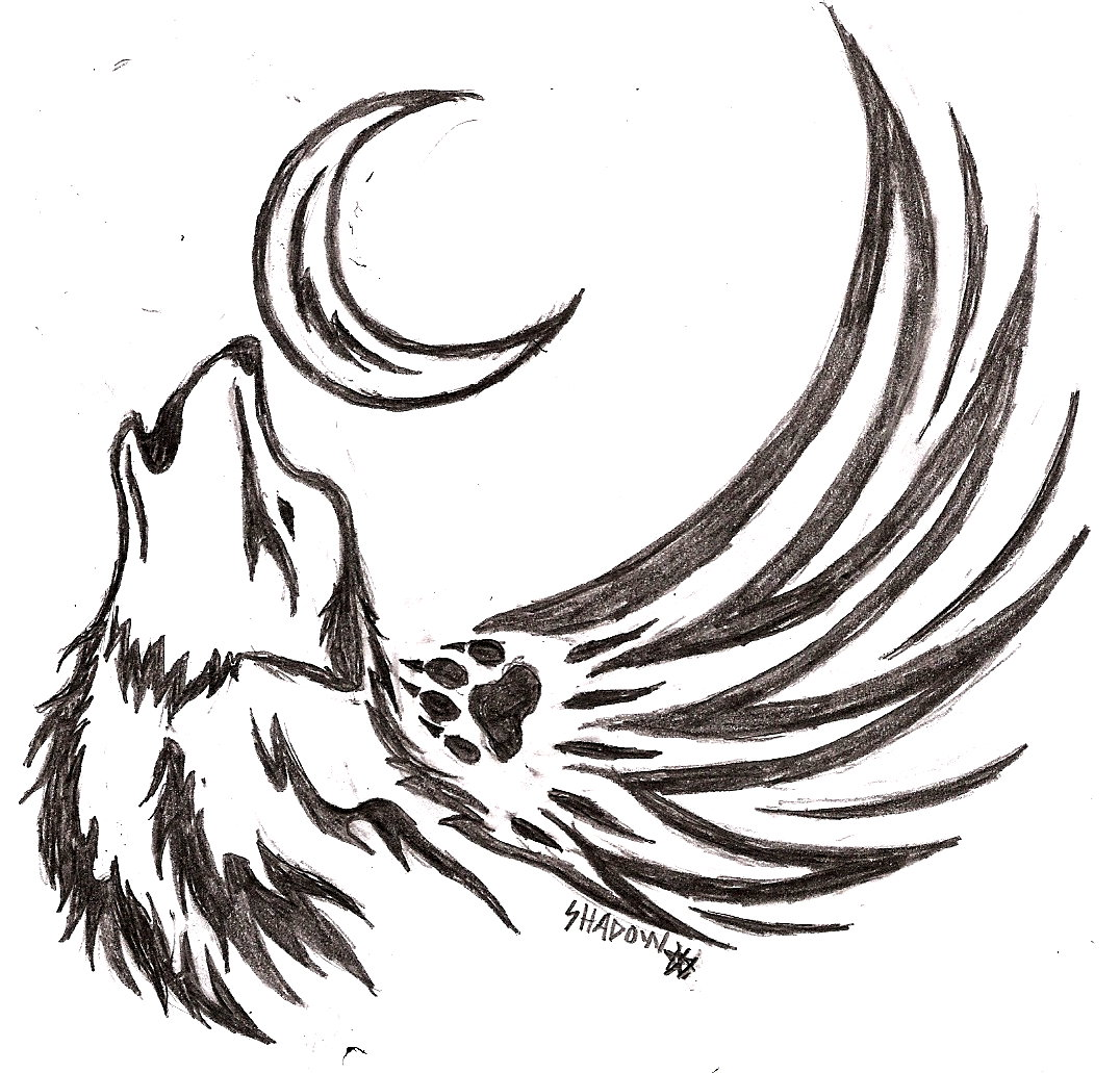 Lineart Wolf Tattoo : Howling wolf tattoo by shiranui on deviantart
