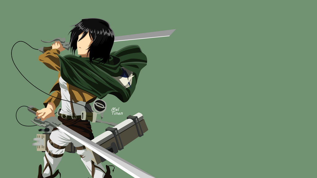 Mikasa Ackerman Minimalist Wallpaper By Meleusou On Deviantart