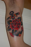 Anchor Rose Old School Tattoo by SebastianQ