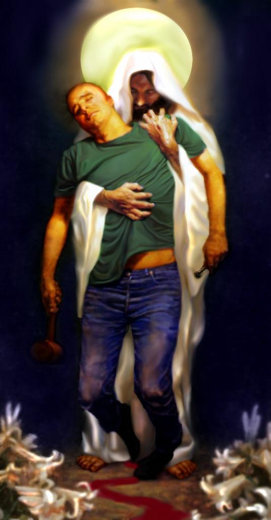 Jesus Holding a sinner by Rene-L