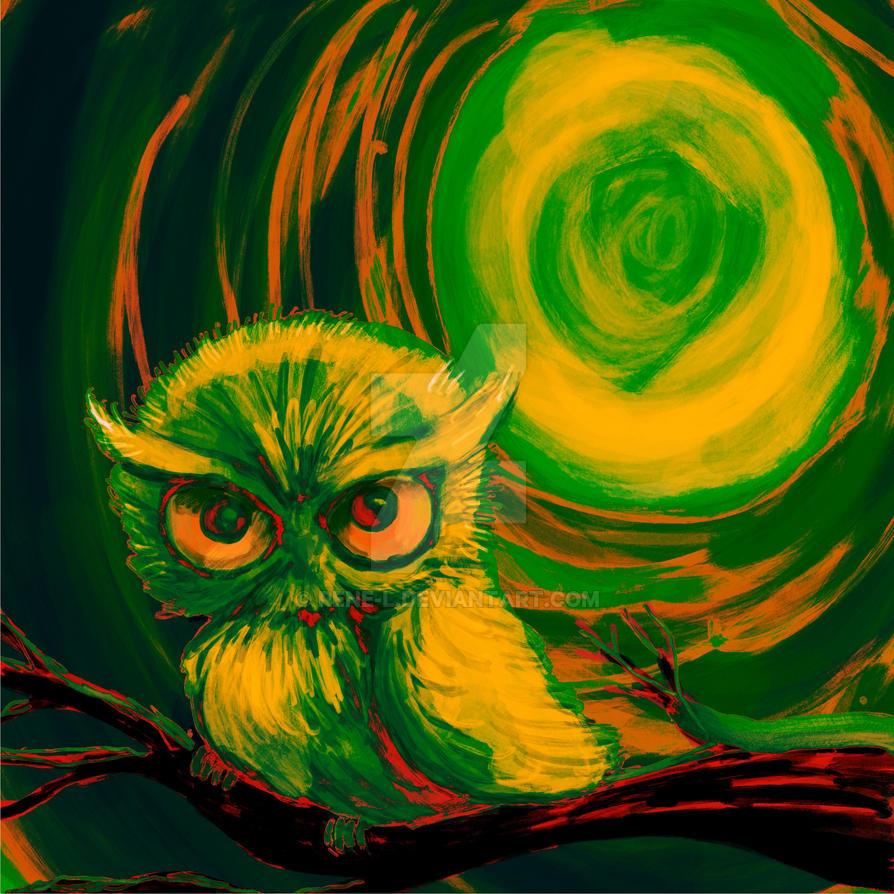 Green moon owl by Rene-L