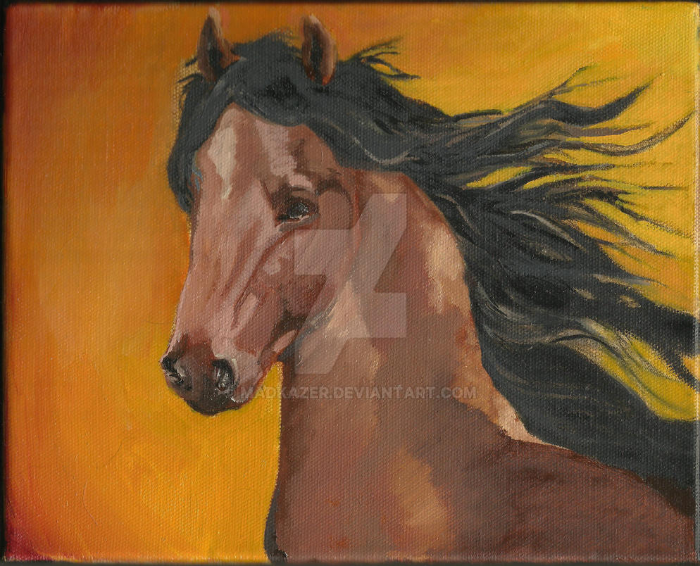 Bay Horse in Oil by Madkazer
