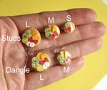 Fruit Tart Earrings Sizes