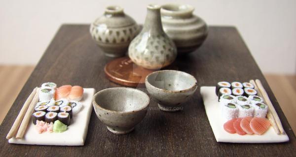 Miniature Sushi Display by PetitPlat