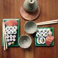 Miniature Sushi on Green Plate by PetitPlat