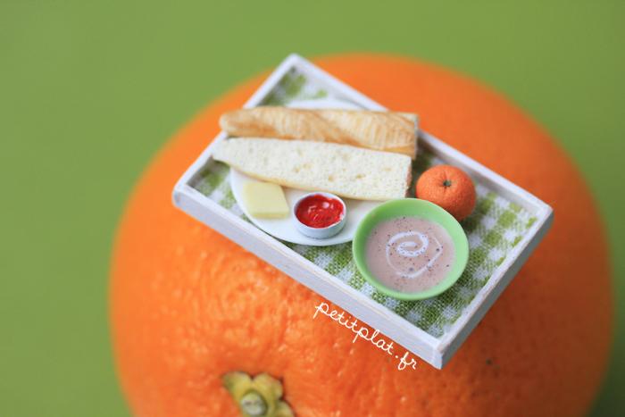 Miniature Food - Breakfast Tray on an Orange by PetitPlat