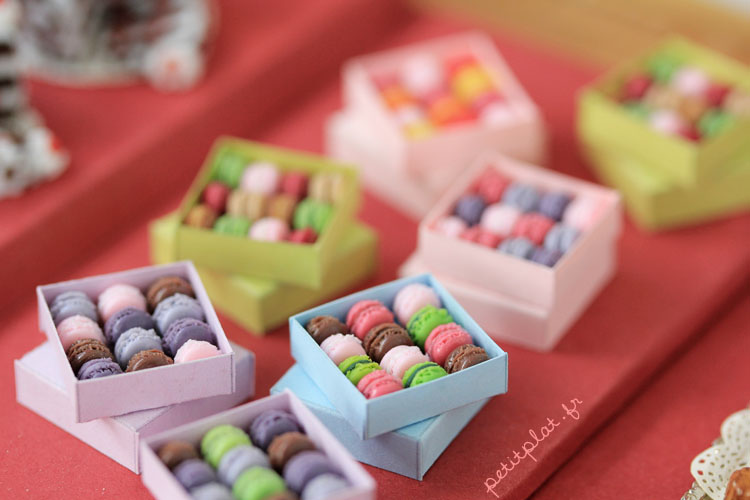 Miniature Macarons Boxes by PetitPlat