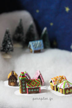 Small Village of Miniature Gingerbread Houses