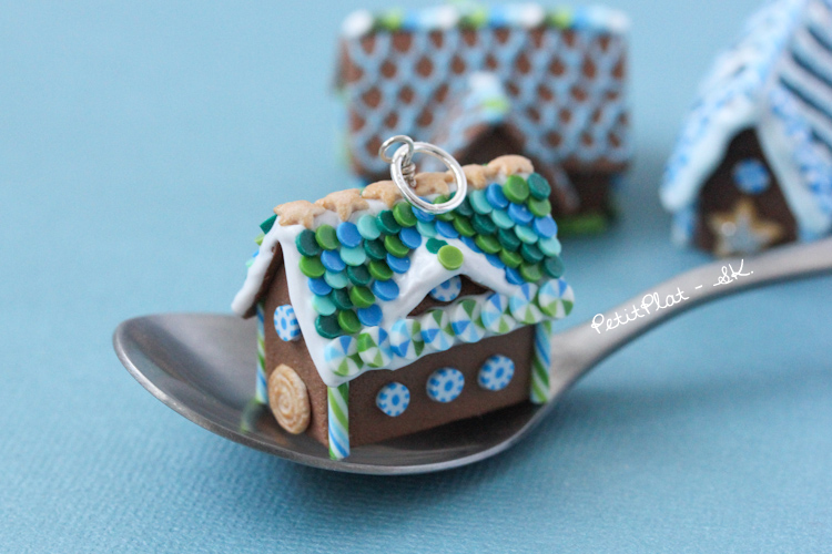 Miniature Gingerbread House Pendant Blue and Green by PetitPlat