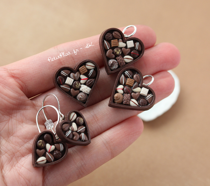 Chocolate Heart with Pralines Jewelry by PetitPlat