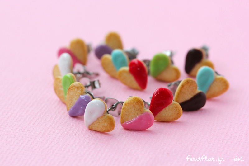 Tiny Heart Cookie Studs by PetitPlat