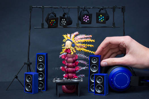 DJ Caterpillar Polymer Clay Sculpture