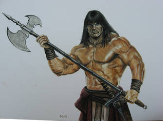 Conan with halberd by CBailey52