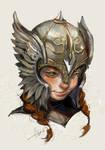 Girl in helmet