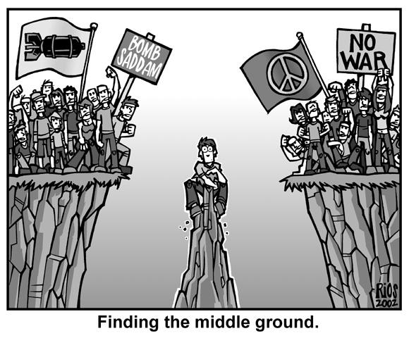 finding a middle ground how the Define middle ground: a standpoint or area midway between extreme or opposing positions, options, or objectives — middle ground in a sentence.
