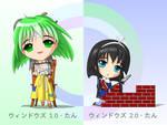 Chibi Windows 1.0 and 2.0-tan
