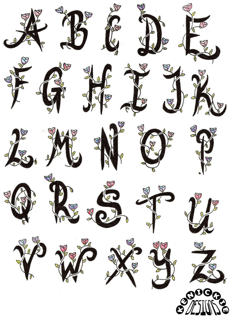 Tattoo flash alphabet by kenickie1984 on deviantart for Tattoo classes online free