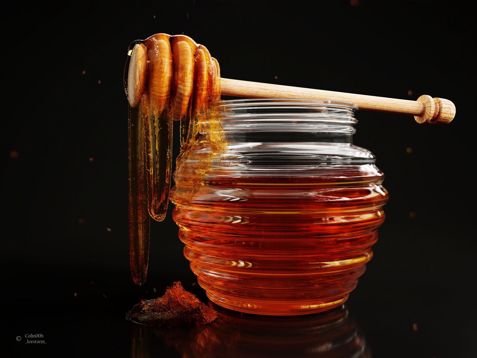 Honey dripping from a Honey Spoon