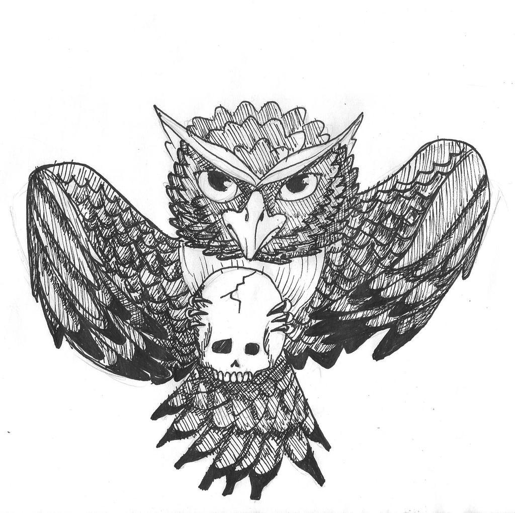 Owl and a weird skull by OtikSandath on deviantART - photo#33