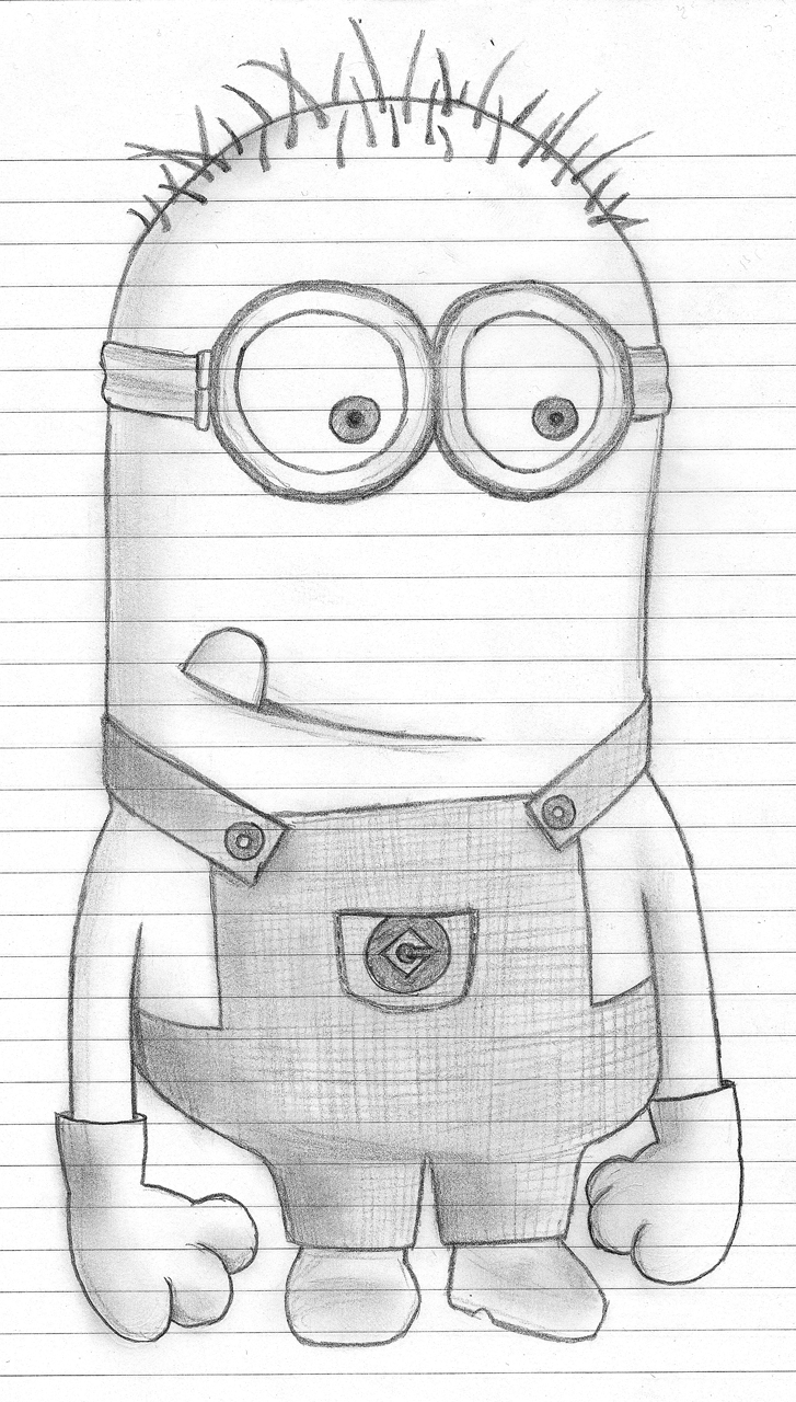 How to Draw Dave ... one of the Minions from Despicable Me ...  Easy Minion Pencil Drawings