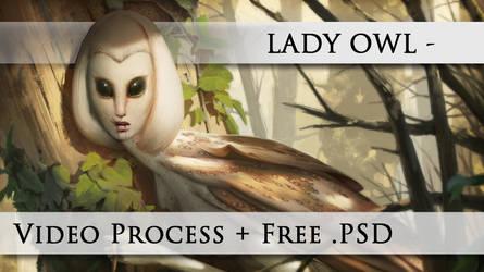 LADY OWL - FREE .PSD + VIDEO PROCESS